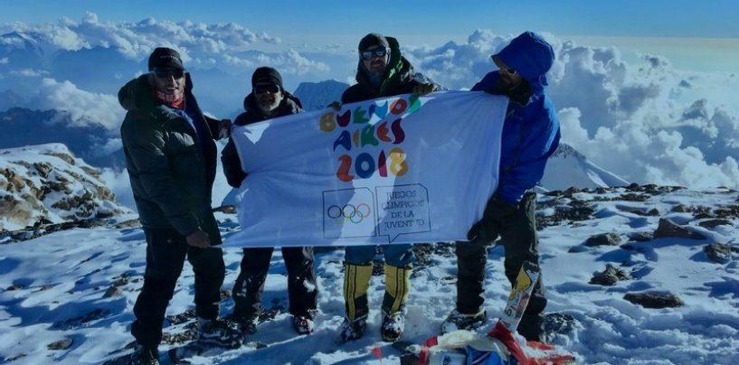 Drapelul JOT Buenos Aires 2018 a fluturat pe cel mai înalt munte din America de Sud